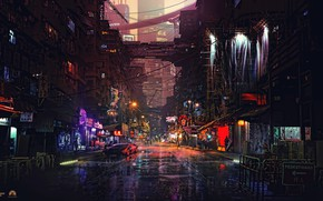 Picture The city, Future, Neon, Machine, Street, People, Quarter, Building, Fiction, Puddles, Cyber