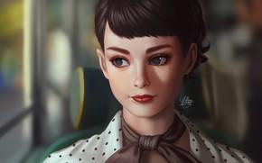 Picture look, girl, Audrey Hepburn, Audrey Hepburn, Lemon Cat