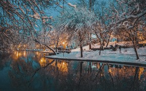Picture winter, snow, trees, landscape, nature, pond, Park, the evening, lighting, lights, Белохон Татьяна