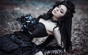 Picture leaves, girl, flowers, Gothic, lies, hotesse