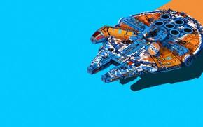 Picture Space, Star Wars, Art, Art, Star Wars, LEGO, Spaceship, Spaceship, Minimalism, Millennium Falcon, Spacecraft, Millennium …