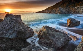 Picture sea, wave, beach, the sky, the sun, clouds, light, landscape, nature, pebbles, stones, rocks, dawn, …