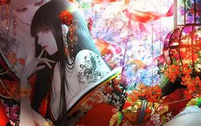Picture flowers, girls, brunette, blonde, kimono, koi