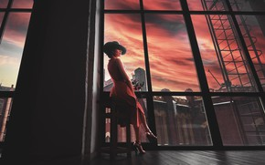 Picture flower, girl, Windows, hat, dress, shoes, Дмитрий Можаров