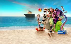 Wallpaper horizon, the sky, the sun, Monsters on vacation 3, Hotel Transylvania 3, sea, cartoon, sand, ...