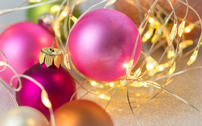 Picture pink, garland, Christmas balls