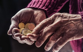 Picture fingers, coins, old age