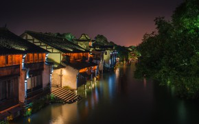 Picture water, night, the city, street, home, lighting, China, channel, Dave B