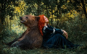 Picture girl, hair, laughter, bear, red