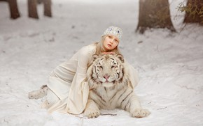 Picture winter, white, girl, snow, trees, nature, face, tiger, pose, background, dress, blonde, friendship, girl, outfit, …