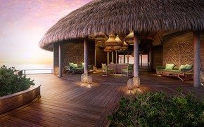 Picture sea, The Maldives, Bungalow