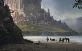 Picture fantasy, sea, landscape, Castle, artwork, boat, warrior, fantasy art, bay, creature, knight, fantasy landscape