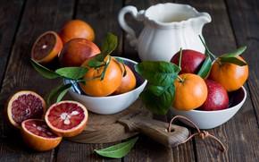 Picture leaves, Board, oranges, dishes, citrus, bowls, the milkman