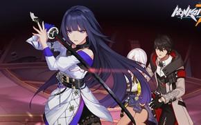 Picture girls, sword, art, guy, Honkai Impact 3rd, Raiden Mei, Carole Pepper