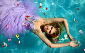 Picture water, girl, petals, dress, Rus