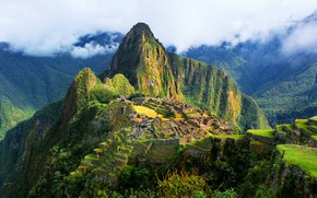 Picture the sky, clouds, mountains, the ancient city, Peru, Machu Picchu, the Incas