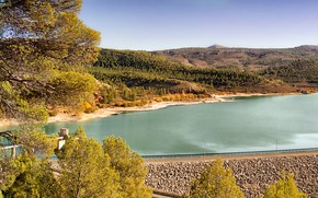 Picture road, autumn, the sky, the sun, trees, river, stones, hills, shore, Spain