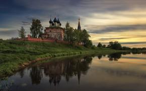 Picture landscape, nature, river, temple, Bank, dome, Dunilovo, Agoranov Alex