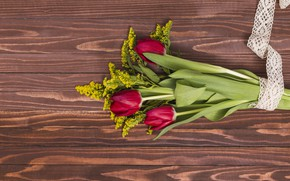 Picture flowers, bouquet, tulips, red, red, wood, flowers, tulips, spring
