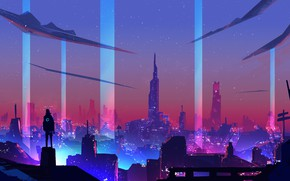 Picture Night, The city, Style, City, Fantasy, Art, Style, Neon, Illustration, Surreal, Cyberpunk, Synth, Environments, Retrowave, …