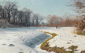 Wallpaper Sunny winter day, A Sunny winter day, 1902, Peder Mørk Mønsted, Peter Merk Of Menstad, ...