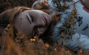 Picture grass, girl, face, berries, sprig, stay, closed eyes, oblepiha, Peter Akimkin