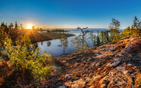 Picture autumn, the sun, rays, trees, landscape, nature, river, stones, Bank