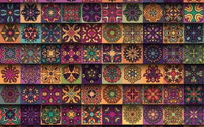 Picture flowers, background, pattern, texture, squares