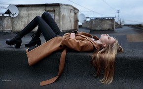 Picture girl, pose, hair, shoes, lies, coat, on the roof, Denis Lankin