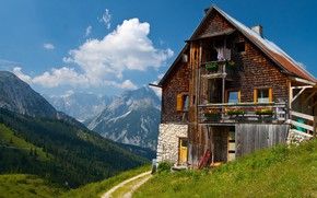 Picture the sky, clouds, mountains, nature, house, wooden house