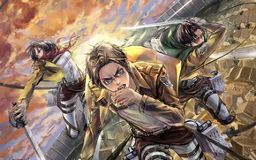 Picture attack, emblem, swords, military uniform, Mikasa Ackerman, Eren Yeager, The Invasion Of The Giants, Levi …