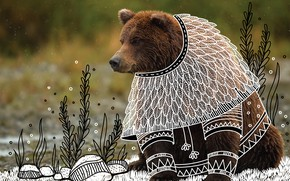 Picture look, pose, vegetation, bear, ANIMAL DOODLES