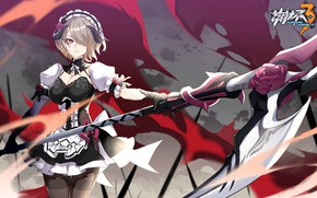 Picture girl, weapons, the game, anime, braid, Honkai Impact 3rd