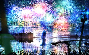 Picture water, girl, night, fireworks