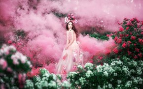 Picture look, girl, flowers, pose, fog, pink, smoke, garden, dress, couples, red, brown hair, white, Princess, …