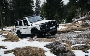 Picture snow, mountains, stones, SUV, prototype, Grenadier, Ineos