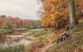 Picture 1918, Danish painter, Peter Merk Of Menstad, Peder Mørk Mønsted, Danish realist painter, Autumn day ...