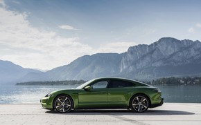 Picture shore, Porsche, in profile, Turbo S, 2020, Taycan