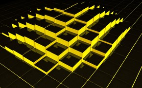 Picture yellow, cubes, structure