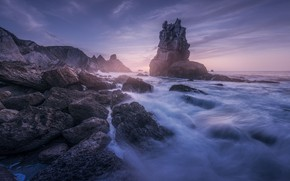 Picture The sky, Water, Stream, Rock, Shore, Stone, Coast, Boulders