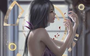Picture girl, blood, fantasy, long hair, brunette, digital art, artwork, fantasy art, fantasy girl, symbols, bare ...