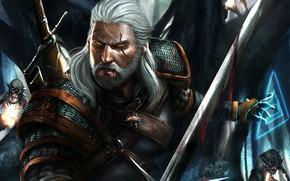 Picture forest, warrior, goblins, Geralt of Rivia, The Witcher 3: Wild Hunt