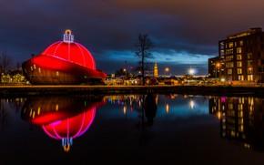 Picture lights, the evening, Netherlands, Holland, Groningen, Groningen