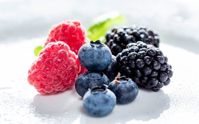 Picture cuts, different, blueberries, berries, raspberry, white background, BlackBerry, drops