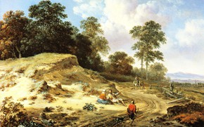 Picture landscape, picture, Ian Vanants, Jan Is A, The road from the Dunes with Peasants and …