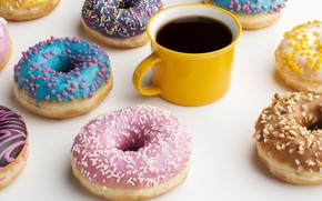 Picture coffee, Cup, donuts, donut, dessert, cakes, glaze, donuts
