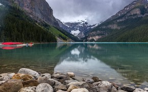 Picture forest, clouds, trees, mountains, lake, stones, rocks, boats, pier, Banff National Park, Alberta, Lake Louise, …