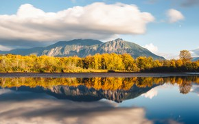 Picture autumn, forest, clouds, trees, landscape, mountains, lake, reflection, rocks, hills, shore, tops, yellow, pond, crown, …