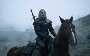 Picture look, horse, sword, male, The Witcher, The Witcher, Geralt, Henry Cavill, Netflix