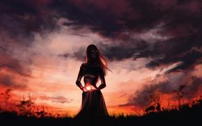 Picture Sunset, The sky, Girl, Magic, Witch, Illustration, Aleksandra Alekseeva, by Aleksandra Alekseeva, Blood witch